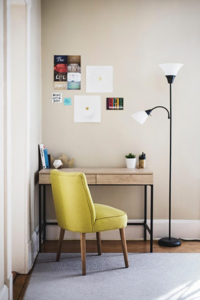 lime chair at desk in home office - casaone