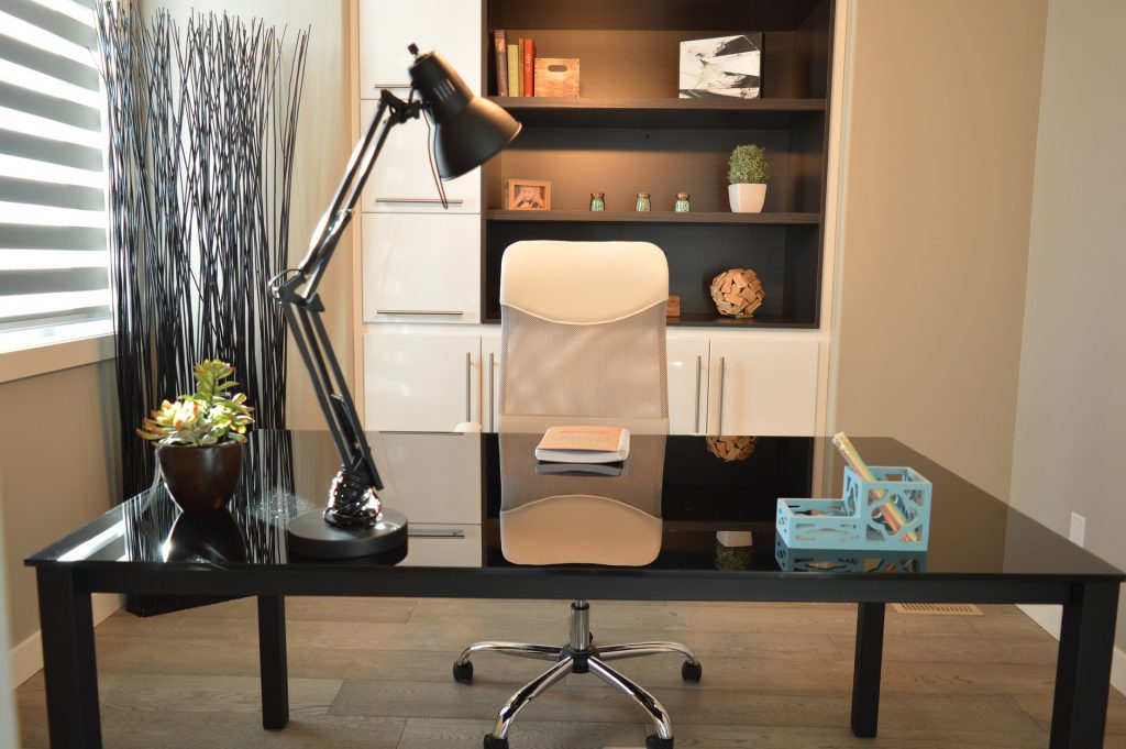 white chair and black table in productive home office - casaone