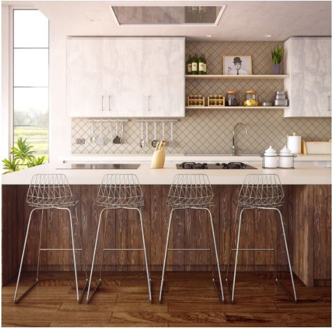 kitchen counter top with metal counter stools