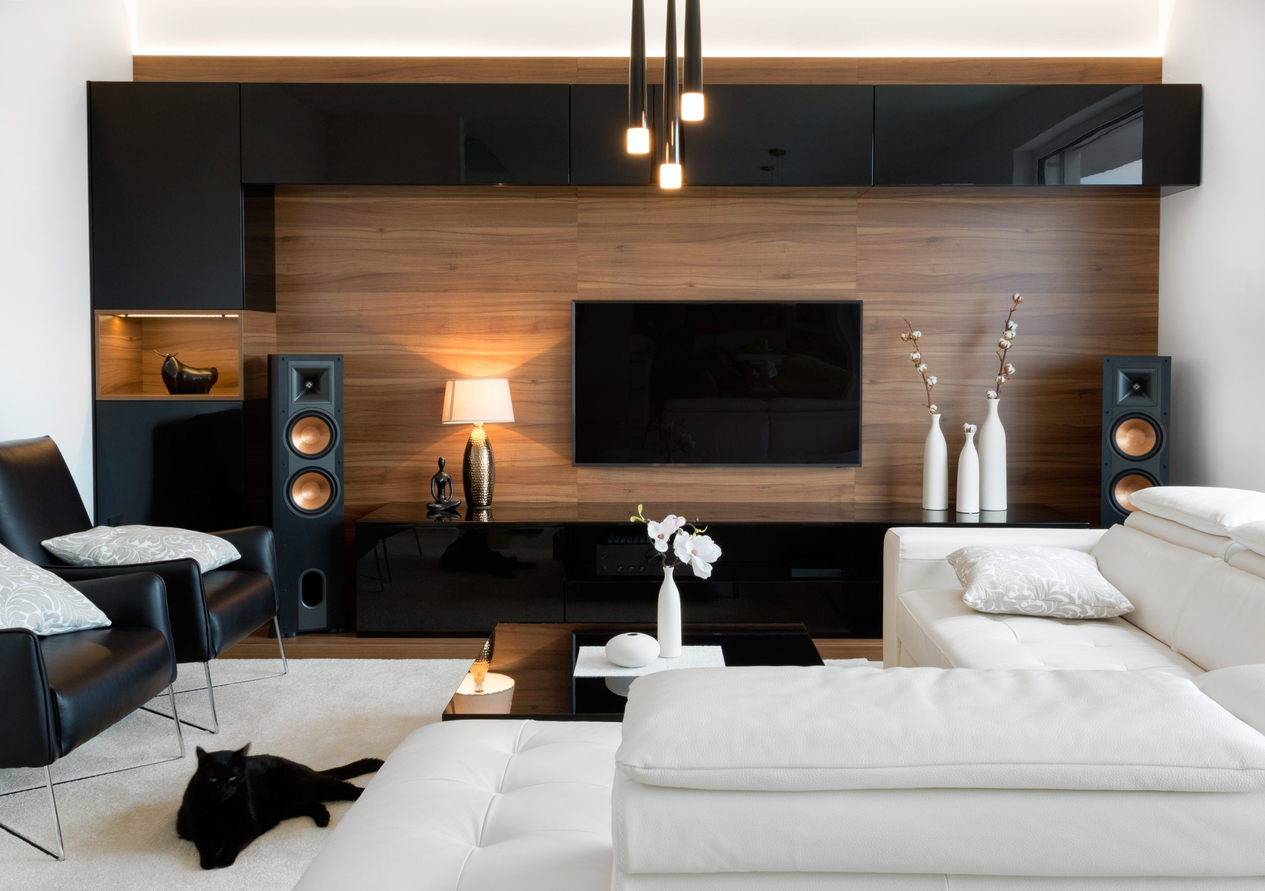 A black cat relaxing in a spacious, modern living room.