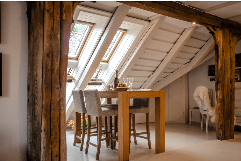 Wooden dining chair and tables with natural lighting