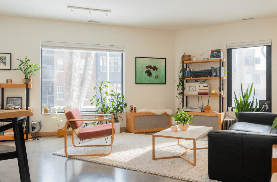 Natural light reflecting in a furnished room