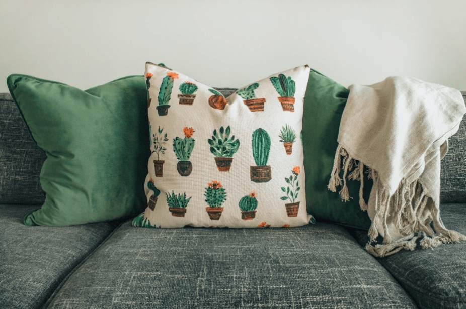 Sofa with patterned throw cushions