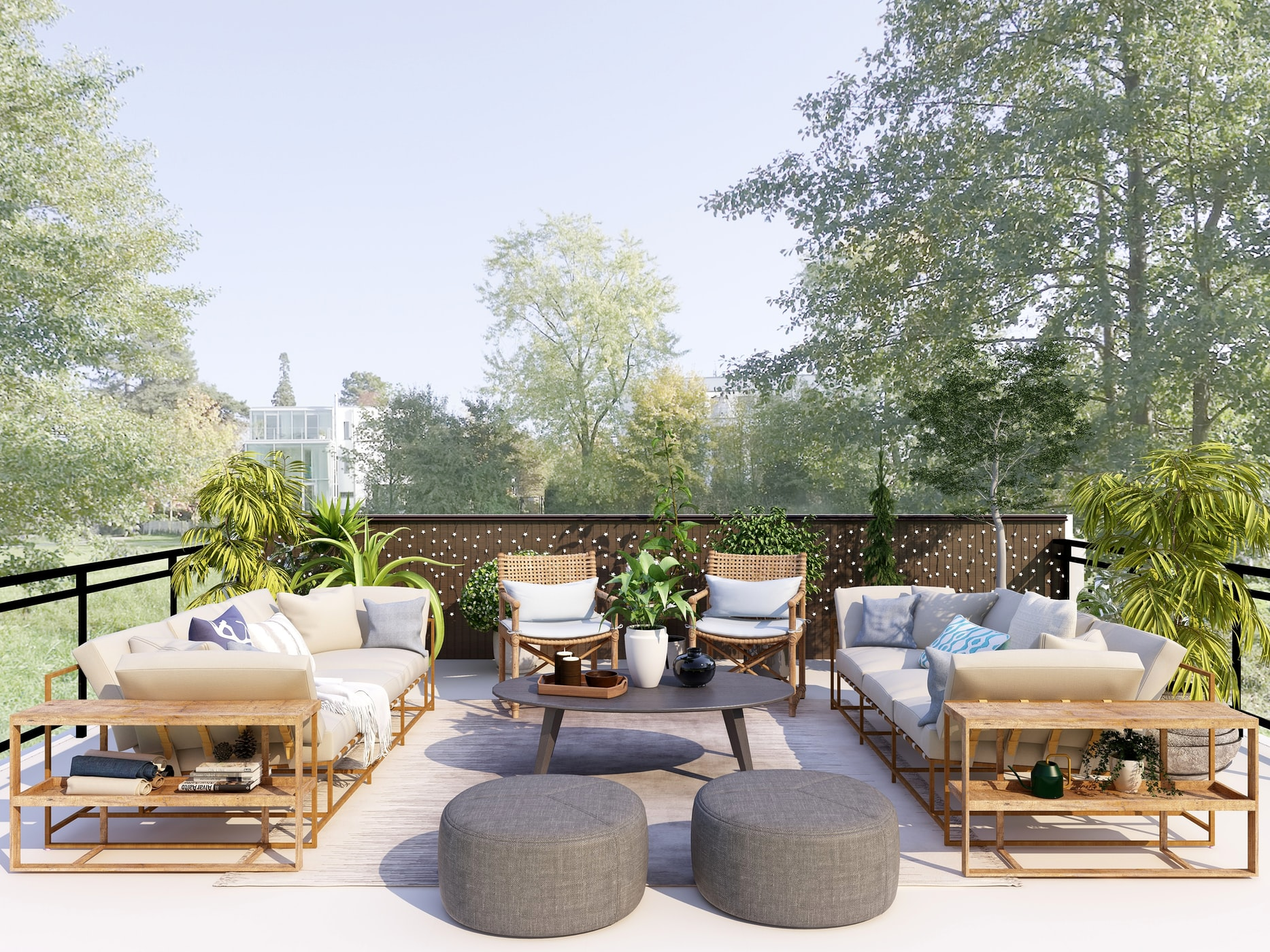 Rustic and classy outdoor furniture overlooking trees and greenery