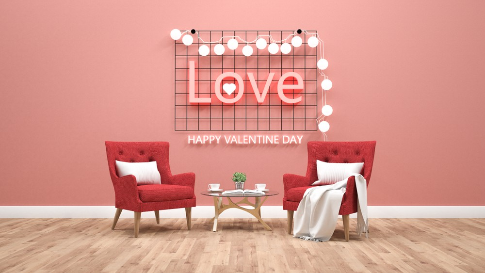 Valentines day theme with light