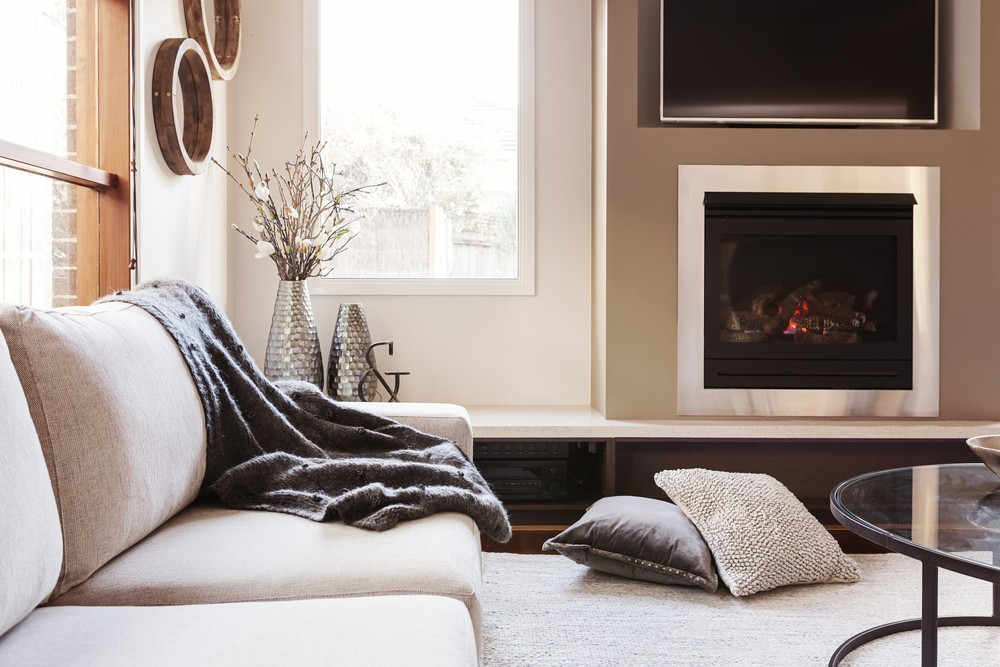 Warm inviting interior with fireplace