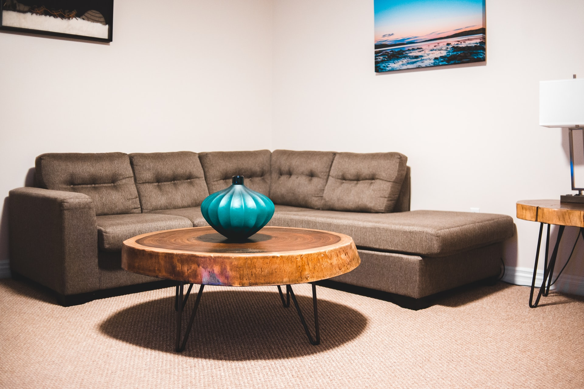 Modern room with a round coffee table