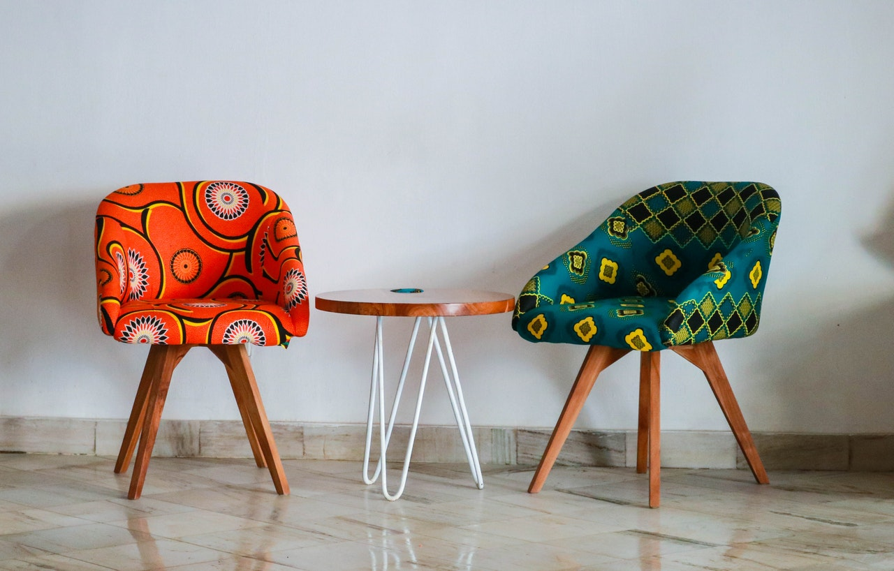 Colorful chair upholstery